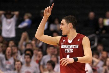 LOS ANGELES, CA - MARCH 10:  Klay Thompson #1 of the Washington State Cougars reacts after making a shot in the second half while taking on the Washington Huskies in the quarterfinals of the 2011 Pacific Life Pac-10 Men's Basketball Tournament at Staples