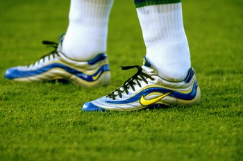 23 Jun 1998:  Ronaldo of Brazil sports his Nike R9 boots in the World Cup group A game against Norway at the Stade Velodrome in Marseille, France. Brazil lost 2-1.  \ Mandatory Credit: Ben Radford /Allsport