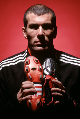 Jan 2002:  Zinedine Zidane of Real Madrid and France with the new Adidas Predator Mania football boots during a photoshoot in Oxford, England. \ Mandatory Credit:  Shaun Botterill/Getty Images