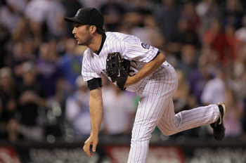 DENVER, CO - JUNE 10:  Pitcher Huston Street #16 of the Colorado Rockies works against the Los Angeles Dodgers at Coors Field on June 10, 2011 in Denver, Colorado. Street earned a save as the Rockies defeated the Dodgers 6-5.  (Photo by Doug Pensinger/Get