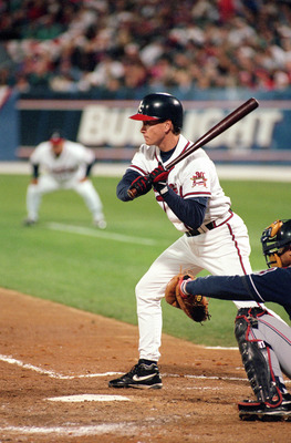 ATLANTA - OCTOBER 28:  Tom Glavine #47 of the Atlanta Braves bats during Game six of the 1995 World Series against the Cleveland Indians at Atlanta-Fulton County Stadium on October 28, 1995 in Atlanta, Georgia. The Braves defeated the Indians 1-0 to win t
