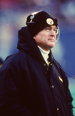 UNDATED:  HEAD COACH CHUCK NOLL OF THE PITTSBURGH STEELERS ON THE SIDELINES DURING HIS 200TH CAREER WIN (OVER THE PATRIOTS) AT THREE RIVERS STADIUM IN PITTSBURGH, PENNSYLVANIA. Mandatory Credit: Rick Stewart/ALLSPORT