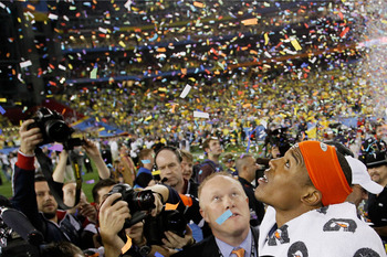 GLENDALE, AZ - JANUARY 10:  Quarterback Cameron Newton #2 of the Auburn Tigers celebrates their 22-19 victory after defeating the Oregon Ducks in the Tostitos BCS National Championship Game at University of Phoenix Stadium on January 10, 2011 in Glendale,