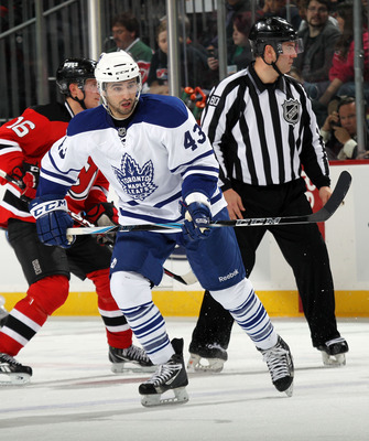 NEWARK, NJ - APRIL 06:  Nazem Kadri #43 of the Toronto Maple Leafs skates against the New Jersey Devils at the Prudential Center on April 6, 2011 in Newark, New Jersey.  (Photo by Bruce Bennett/Getty Images)