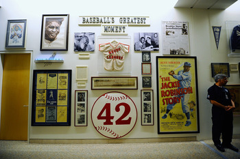 LOS ANGELES, CA - APRIL 14:  A view of the wall of Jackie Robinson memorabilia at Dodger Stadium during the baseball game between St. Louis Cardinals and Los Angeles Dodgers on April 14, 2011 in Los Angeles, The Dodgers will join all of Major League Baseb