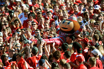 COLUMBUS, OH - SEPTEMBER 25:  Mascot Brutus Buckeye is carried up the stands by fans during a game against the Eastern Michigan Eagles at Ohio Stadium on September 25, 2010 in Columbus, Ohio.  (Photo by Jamie Sabau/Getty Images)