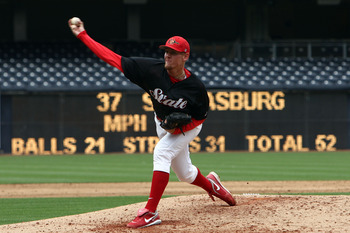SAN DIEGO, CA- APRIL 3:  Starting Pitcher Stephen Strasburg #37 of the San Diego State Aztecs throws from the mound against the UC Davis Aggies during their game on April 3, 2009 at Petco Park in San Diego, California. (Photo by Donald Miralle/Getty Image