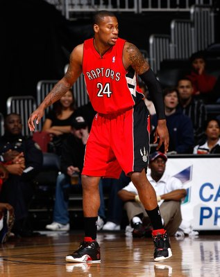 ATLANTA - DECEMBER 02:  Sonny Weems #24 of the Toronto Raptors against the Atlanta Hawks at Philips Arena on December 2, 2009 in Atlanta, Georgia.  NOTE TO USER: User expressly acknowledges and agrees that, by downloading and/or using this Photograph, Use