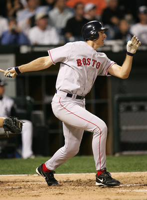 CHICAGO - OCTOBER 05:  John Olerud #19 of the Boston Red Sox bats against the Chicago White Sox during Game Two of the American League Division Series at U.S. Celluar Field on October 5, 2005 in Chicago, Illinois.  The White Sox defeated the Red Sox 5-4 t