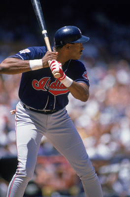 ANAHEIM, CA - JULY 26:  Dave Winfield #31 of the Cleveland Indians bats against the California Angels during a game at Anaheim Stadium on July 26, 1995 in Anaheim, California.  (Photo by Craig Jones/Getty Images)