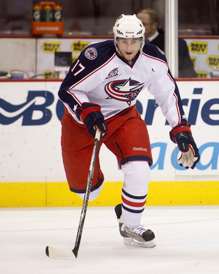 VANCOUVER, CANADA - DECEMBER 15: Andrew Murray #17 of the Columbus Blue Jackets skates during the pre-game skate prior to NHL action on December 15, 2010 against the Vancouver Canucks at Rogers Arena in Vancouver, BC, Canada.  (Photo by Rich Lam/Getty Ima