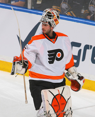 BUFFALO, NY - APRIL 24: Michael Leighton #49 of the Philadelphia Flyers skates during a timeout in the first period against the Buffalo Sabres  in Game Six of the Eastern Conference Quarterfinals during the 2011 NHL Stanley Cup Playoffs at HSBC Arena at H