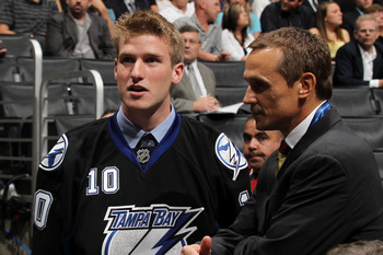 LOS ANGELES, CA - JUNE 26:  Brock Beukeboom talks with Tampa Bay Lightning general manager Steve Yzerman after being drafted in the third round during day two of the 2010 NHL Entry Draft at Staples Center on June 26, 2010 in Los Angeles, California.  (Pho