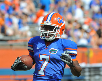 GAINESVILLE, FL - APRIL 9:  Wide receiver Robert Clark #7 of the Florida Gators runs to the end zone before the Orange and Blue spring football game April 9, 2011 at Ben Hill Griffin Stadium in Gainesville, Florida.  (Photo by Al Messerschmidt/Getty Image