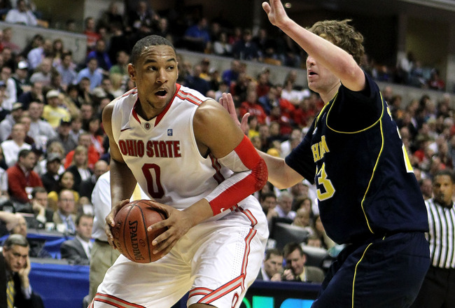 INDIANAPOLIS, IN - MARCH 12:  Jared Sullinger #0 of the Ohio State Buckeyes moves the ball inside against the Michigan Wolverines during the semifinals of the 2011 Big Ten Men's Basketball Tournament at Conseco Fieldhouse on March 12, 2011 in Indianapolis