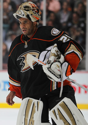 ANAHEIM, CA - APRIL 15:  Goaltender Ray Emery #29 of the Anaheim Ducks looks on against the Nashville Predators in Game Two of the Western Conference Quarterfinals during the 2011 NHL Stanley Cup Playoffs at Honda Center on April 15, 2011 in Anaheim, Cali
