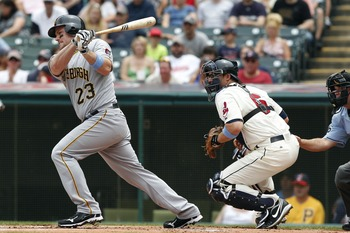 CLEVELAND, OH - JUNE 19:   Matt Diaz #23 of the Pittsburgh Pirates bats against the Cleveland Indians during their game on June 19, 2011 at Progressive Field in Cleveland, Ohio.  The Indians defeated the Pirates 5-2 in 11 innings.  (Photo by David Maxwell
