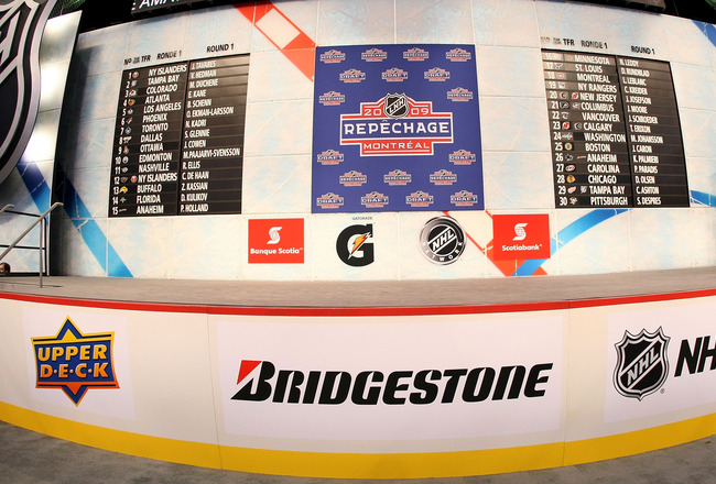 MONTREAL, QC - JUNE 26:  A general view of the draft board and stage after the first round of the 2009 NHL Entry Draft was completes at the Bell Centre on June 26, 2009 in Montreal, Quebec, Canada.  (Photo by Bruce Bennett/Getty Images)