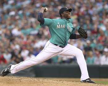 SEATTLE - JUNE 17:  Starting pitcher Michael Pineda #36 of the Seattle Mariners throws against the Philadelphia Phillies at Safeco Field on June 17, 2011 in Seattle, Washington. (Photo by Otto Greule Jr/Getty Images)