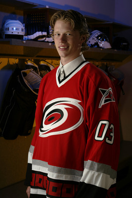 NASHVILLE, TN - JUNE 21:  First round pick(#2 overall) Eric Staal of the Carolina Hurricanes stands for a portrait during the 2003 NHL Entry Draft on June 21, 2003 at the Gaylord Entertainment Center in Nashville, Tennessee. (Photo by Robert Laberge/Getty