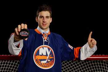 MONTREAL, QC - JUNE 26:  John Tavares poses for a portrait after being picked number one overall in the 2009 NHL Entry Draft by the New York Islander at the Bell Centre on June 26, 2009 in Montreal, Quebec, Canada.  (Photo by Jamie Squire/Getty Images)