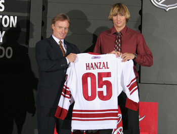 OTTAWA, ONT - JULY 30:  General Manager and Alternate Governor Michael Barnett and seventeeth overall draft pick Martin Hanzal of the Phoenix Coyotes pose after being selected during the 2005 National Hockey League Draft on July 30, 2005 at the Westin Hot