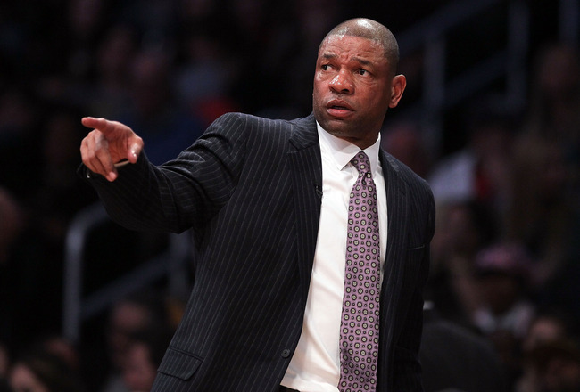 LOS ANGELES, CA - FEBRUARY 20:  Head coach Doc Rivers of the Eastern Conference points in the 2011 NBA All-Star Game at Staples Center on February 20, 2011 in Los Angeles, California. NOTE TO USER: User expressly acknowledges and agrees that, by downloadi