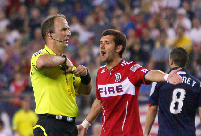FOXBORO, MA - JUNE 18:  Gonzalo Segares #13 of the Chicago Fire argues a yellow card call against him in a game against the New England Revolution at Gillette Stadium on June 18, 2011 in Foxboro, Massachusetts. (Photo by Gail Oskin/Getty Images)