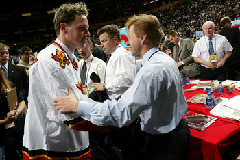 NASHVILLE, TN - JUNE 21:  Dion Phaneuf of the Calgary Flames is introduced to his new team during the 2003 NHL Entry Draft at the Gaylord Entertainment Center on June 21, 2003 in Nashville, Tennessee. (Photo by Doug Pensinger/Getty Images/NHLI)
