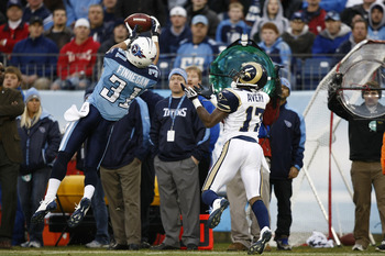 NASHVILLE, TN - DECEMBER 13: Cortland Finnegan #31 of the Tennessee Titans defends a pass intended for Donnie Avery #17 of the St. Louis Rams at LP Field on December 13, 2009 in Nashville, Tennessee. The Titans defeated the Rams 47-7 as Finnegan had two i