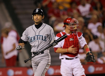 ANAHEIM, CA - JULY 16: Ichiro Suzuki #51 of the Seattle Mariners reacts after striking out in the eighth inning against the Los Angeles Angels of Anaheim on July 16, 2010 at Angel Stadium in Anaheim, California. (Photo by Stephen Dunn/Getty Images)