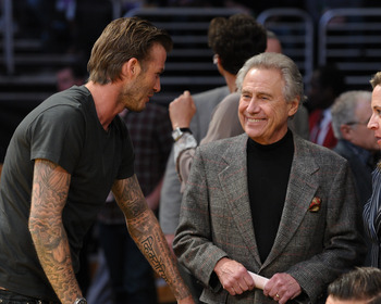 LOS ANGELES, CA - APRIL 20:  David Beckham (L) and Philip Frederick Anschutz attend the game between the New Orleans Hornets and the Los Angeles Lakers at Staples Center on April 20, 2011 in Los Angeles, California.  (Photo by Noel Vasquez/Getty Images)