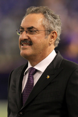 MINNEAPOLIS - NOVEMBER 7: Owner Zygi Wilf of the Minnesota Vikings looks on during warmups for the game with the <a class='sbn-auto-link' href=