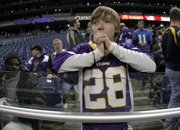 DETROIT, MI - DECEMBER 13:   A young fan looks on prior to the Minnesota Vikings playing the <a class='sbn-auto-link' href=