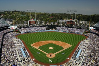 LOS ANGELES, CA - MARCH 31:  A general view field before the Los Angeles Dodgers Opening Day game against the San Francisco Giants at Dodger Stadium on March 31, 2008 in Los Angeles, California.  (Photo by Lisa Blumenfeld/Getty Images)