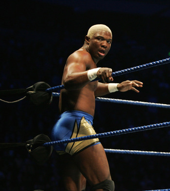 SYDNEY, AUSTRALIA - JUNE 15:  Shelton Benjamin looks on from the corner during WWE Smackdown at Acer Arena on June 15, 2008 in Sydney, Australia.  (Photo by Gaye Gerard/Getty Images)