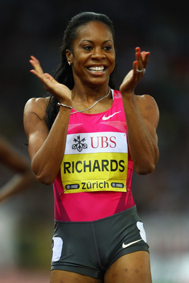 ZURICH, SWITZERLAND - AUGUST 28:  Sanya Richards of USA celebrates after taking the victory in the Womens 400m race during the IAAF Golden League Weltklasse Zurich meeting at the Stadion Letzigrund on August 28, 2009 in Zurich, Switzerland.  (Photo by Jam
