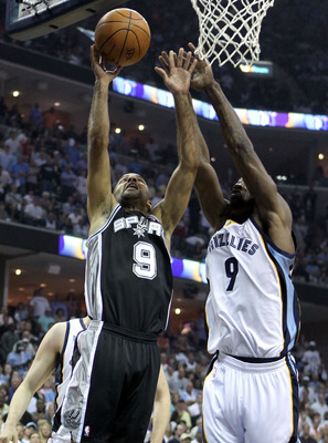 MEMPHIS, TN - APRIL 29:  Tony Parker #9 of the San Antonio Spurs shoots the ball while defended by Tony Allen #9 of the Memphis Grizzlies in Game Six of the Western Conference Quarterfinals in the 2011 NBA Playoffs at FedExForum on April 29, 2011 in Memph