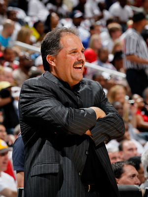 ATLANTA, GA - APRIL 24:  Stan Van Gundy of the Orlando Magic against the Atlanta Hawks during Game Four of the Eastern Conference Quarterfinals in the 2011 NBA Playoffs at Philips Arena on April 24, 2011 in Atlanta, Georgia.  NOTE TO USER: User expressly