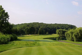 CROMWELL, CT - JUNE 26: A view from the tee box on the13th hole at TPC River Highlands on June 26, 2010 in Cromwell, Connecticut.  (Photo by Michael Cohen/Getty Images)