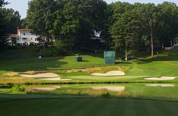 CROMWELL, CT - JUNE 26: A view from the tee box of the 16th hole at TPC River Highlands on June 26, 2010 in Cromwell, Connecticut.  (Photo by Michael Cohen/Getty Images)