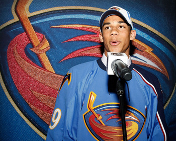 MONTREAL, QC - JUNE 26:  Evander Kane speaks to the media after he was picked #4 overall by the Atlanta Thrashers during the first round of the 2009 NHL Entry Draft at the Bell Centre on June 26, 2009 in Montreal, Quebec, Canada.  (Photo by Richard Wolowi