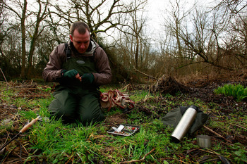FAIRFORD, ENGLAND - FEBRUARY 27:  Fly fisherman Edward Crownshaw prepares his line before fishing on the River Coln on February 27, 2011 in Fairford, England.  (Photo by Dan Istitene/Getty Images)