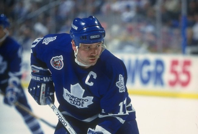 20 Dec 1992:  Leftwinger Wendel Clark of the Toronto Maple Leafs looks on during a game against the Buffalo Sabres at Memorial Auditorium in Buffalo, New York. Mandatory Credit: Rick Stewart  /Allsport