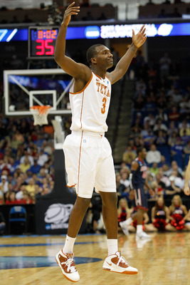 TULSA, OK - MARCH 20:  Jordan Hamilton #3 of the Texas Longhorns celebrates after a play against the Arizona Wildcats during the third round of the 2011 NCAA men's basketball tournament at BOK Center on March 20, 2011 in Tulsa, Oklahoma.  (Photo by Tom Pe