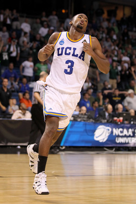 TAMPA, FL - MARCH 17:  Malcolm Lee #3 of the UCLA Bruins reacts after UCLA held on to win 78-76 against Michigan State Spartans during the second round of the 2011 NCAA men's basketball tournament at St. Pete Times Forum on March 17, 2011 in Tampa, Florid