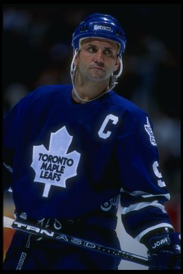 7 Feb 1996:  Center Doug Gilmour of the Toronto Maple Leafs looks on during a game against the Anaheim Mighty Ducks at Arrowhead Pond in Anaheim, California.  The Maple Leafs won the game, 2-1. Mandatory Credit: Jamie Squire  /Allsport