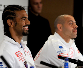LONDON, ENGLAND - MAY 10:  David Haye talks to the press with his manager and trainer Adam Booth during the David Haye v Wladimir Klitschko Press Conference at the Park Plaza Hotel on May 10, 2011 in London, England.  (Photo by Christopher Lee/Getty Image