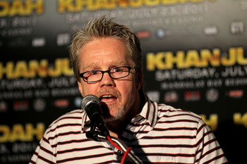 LOS ANGELES, CA - JUNE 8:  Freddie Roach, trainer of Amir Khan, speaks at a press conference to discuss their upcoming Super Lightweight World Championship Unification Fight with Zab Judah at ESPN Zone At L.A. Live on June 8, 2011 in Los Angeles, Californ