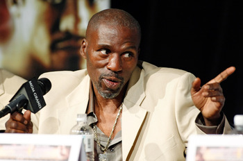 LAS VEGAS - SEPTEMBER 16:  Roger Mayweather, uncle and trainer of boxer Floyd Mayweather Jr., speaks during the final news conference for their bout against Juan Manuel Marquez at the MGM Grand Hotel/Casino September 16, 2009 in Las Vegas, Nevada. Mayweat